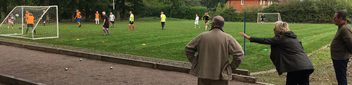 Walking football and petanque banner
