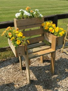 Mens Shed flower chair