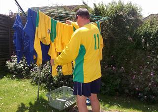 Trev washing the kit